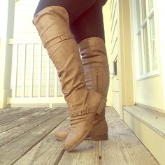 Cognac Wide Calf Over the Knee Riding Boot YES... To over the KNEE! Really sexy boot! A slouchy look/Studded wrap around detail/Small heel/Zipper closure/16 inches or smaller calf/Rums true to size 10/ Brand New/Never worn outPrice Firm Shoes Over the Knee Boots