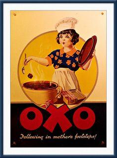 (retro food advertising posters england)Vintage advertising poster | vintage posters | oxo | Circa 1930's