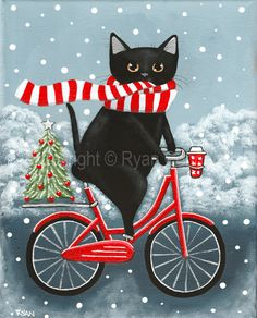 Christmas Tree And Coffee Bicycle Ride Original Black Cat Folk Art Painting Christmas Tree And Coffee Bicycle Ride Original Black Cat Folk Art Painting By Kilkennycat Art 85 00 Usd Copyright Ryan Conners Memes Arte, New Year Art, Christmas Tree Painting, Photo Chat, Cat Drinking, Diamond Art, Crystal Diamond, 5d Diamond Painting, Coffee Art