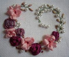 Wonderful Ribbon Embroidery Flowers by Hand Ideas. Enchanting Ribbon Embroidery Flowers by Hand Ideas. Ribbon Embroidery Tutorial, Silk Ribbon Embroidery, Embroidery Patterns, Hand Embroidery, Embroidery Stitches, Embroidery Techniques, Machine Embroidery, Local Embroidery, Ribbon Sewing