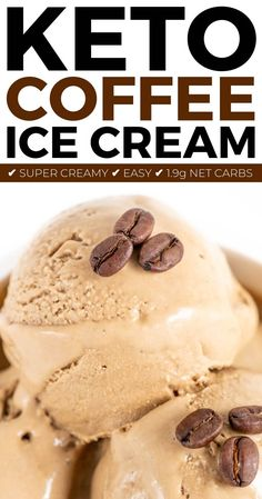 healthy ice cream Sugar Free Keto Coffee Ice Cream with less than net carbs per scoop! Super easy low carb ice cream with only 5 ingredients needed! Sugar Free Desserts, Sugar Free Recipes, Low Carb Desserts, Frozen Desserts, Low Carb Recipes, Dessert Recipes, Sugar Free Gelato Recipe, Quick Recipes, Tuna Recipes