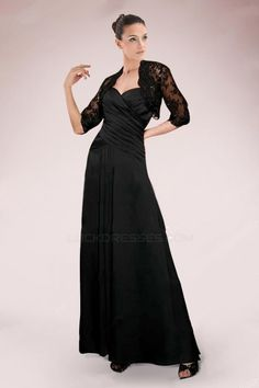 A-Line Sweetheart Long Black Mother of the Bride Dresses with A Jacket M010086