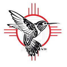 Tribal Hummingbird Tattoos Symbol Of Good Luck Bird Tattoo Designs Tattoo New Mexico Tattoo, Haida Tattoo, Native American Symbols, Native American Design, Tribal Wings, Tribal Art, Native Tattoos, Kunst Tattoos, Hummingbird Tattoo
