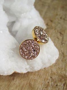 Rose Gold Druzy Earrings Titanium Drusy Quartz by julianneblumlo, $80.00