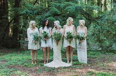 bridesmaids in white boho dresses