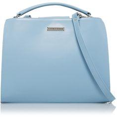 Cathias Edeline Large Light Blue Bag (£115) ❤ liked on Polyvore featuring bags, handbags, shoulder bags, light blue, blue shoulder bag, light blue purse, blue purse, light blue handbags and leather shoulder handbags