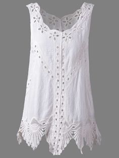 5ec7606e335646 Bohemian Scoop Neck Crochet Sleeveless Solid Color Blouse For Women - White  One Size