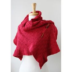Rococo Hand Knit Shawl, Cotton & Silk, Red from Elena Rosenberg Wearable Fiber Art - Winter Pop-Up Shop