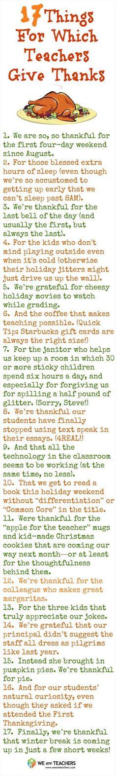Reasons teachers are thankful! #weareteachers @Wendy Felts Chiabotta-Cieslak @Melanie Bauer Anderson
