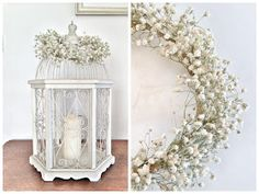 Under Lock and Key: DIY baby's breath wreath Hydrangea Bouquet Wedding, Rose Petals Wedding, Wedding Table Flowers, Diy Bouquet, Fall Wedding Colors, Bouquets, Babys Breath Wreath, Cheap Lanterns, Candle Wedding Centerpieces