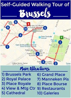 Free map of awesome #Brussels Walking Tour (self-guided) - See the historic sights and sample tasty treats like frites and waffles! | Intentional Travelers