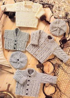 PDF Digital Download Vintage Knitting Pattern Baby Toddler Childs ARAN TUNIC JACKET WAISTCOAT BERET Chest 16-24 I