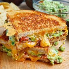 sun dried tomatoes, avocado, bacon, cheese = YUM!