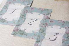 Vintage Foral Table Numbers