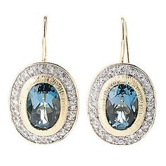"Michelle Albala Oval Gemstone & White Sapphire 1"" Drop Earrings"