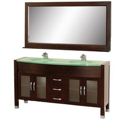 """Wyndham Collection WC-A-W2200-63 Daytona 63"""" Free Standing Vanity Set with Hardw Espresso / Green Glass Top Fixture Vanity Double"""