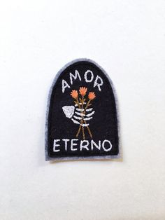 """Hand Embroidered Patch, Amor Eterno Tombstone. Wool Blend Felt Sew On Patch, Hand Stitched Skeleton Embroidery Gift Idea Made to Order  ~ 3"""""""