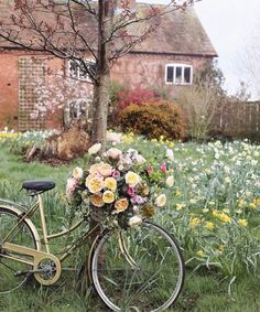 A pretty moment last week when it really was all April showers and very little sunshine. Here's to bike baskets full of… Beautiful Dream, Beautiful Flowers, Beautiful Pictures, Fotografia Floral, Spring Aesthetic, Ivy House, Floral Photography, Beltane, French Country Style