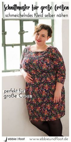 Kleid für große Größen nähen Sew your dress for big sizes yourself. With this unique pattern for chubby women, you can finally sew your own perfect dress made of sweat or jersey. This sewing instruction is even just great for big sizes and spells Fashion Office, Diy Fashion, Belted Shirt Dress, Tee Dress, Chubby Ladies, Plus Size Dresses, Diy Clothes, Plus Size Fashion, Costume