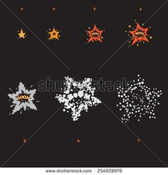 Explode effect animation. For game animation or design. Boom vector illustration. Cartoon explosions on the dark background. Storyboard of fireball