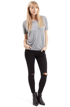 Topshop Moto 'Leigh' Ripped Skinny Jeans (Black) (Regular & Petite)