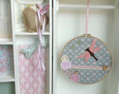 Dragonfly bringing spring hoop art  girl's room wall by Renouitas