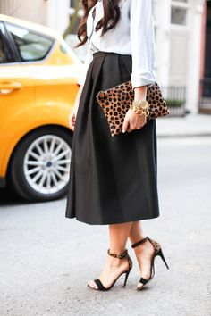midi skirt, chambray shirt, strappy leopard sandals and clutch