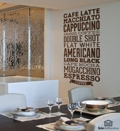 The cafe latte, macchiato, cappuccino, Irish coffee My Coffee Shop, Coffee Bar Home, Coffee Art, Design Bar Restaurant, Bakery Design, Kitchen Wall Decals, Kitchen Art, Dandelion Coffee, Coffee Varieties