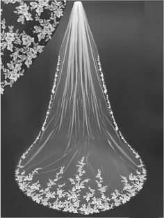 Gorgeous Floral Lace Embroidery Royal Cathedral Wedding Veil This Gorgeous Flora. - Gorgeous Floral Lace Embroidery Royal Cathedral Wedding Veil This Gorgeous Floral Lace Embroidery R - Wedding Ceremony Ideas, Wedding Veils With Hair Down, Long Wedding Veils, Wedding Wallpaper, Cathedral Wedding Dress, Cathedral Veils, Gothic Wedding, Elegant Wedding, Vail Wedding