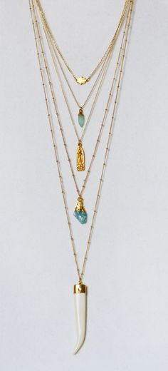 boho style layered chains | kei jewelry
