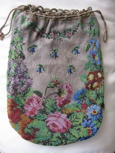 Antique Victorian Drawstring Crochet Large Floral Micro Bead Lined Purse #Drawstring