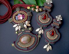 awesome Soutache set with Unakite made in soutache techniques red, dark green, gold color . Soutache Pendant, Soutache Necklace, Beaded Earrings, Earrings Handmade, Beaded Jewelry, Crochet Earrings, Handmade Jewelry, Jewellery, Shibori