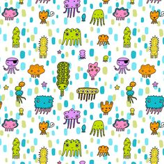 Squiddies fabric design by Liz Adams, via Behance