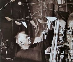 """Alexander Calder  Roxbury, Connecticut  1960  Photo: Herbert Matter    From the book:   """"Artists in Their Studios:  Images from the Smithsonian's Archive of American Art""""  by Liza Kirwin with Joan Lord  2007  via:  MONDOBLOGO: artists in their studios"""