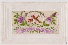 Silk WW1 Embroidered Postcard Christmas Greetings Robins