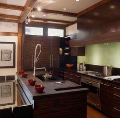 asiankitchen design | modern asian kitchen design engulfed in ample dark wood