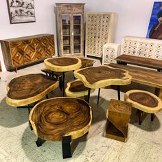 Beautiful collection of live edge accent Tables.
