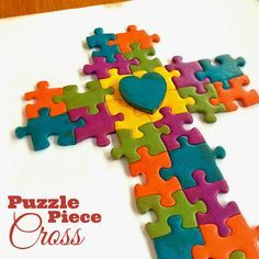 Twitchetts: Up-Cycled & Recycled Projects Puzzle Piece Art Vbs Crafts, Bible Crafts, Camping Crafts, Crafts For Kids, Autism Crafts, Rock Crafts, Puzzle Piece Crafts, Puzzle Pieces, Recycling