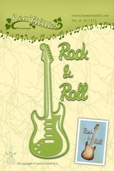 Leane Creatief Stanz-u. Prägeform Gitarre ' Rock & Roll ' 45.1512 ( hell-grün )