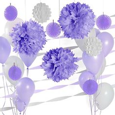Purple & White - Birthday Party Decoration Kit | BigDotOfHappiness.com