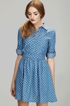 Polka dot shirt dress- mine is sleeveless, wear with sweaters