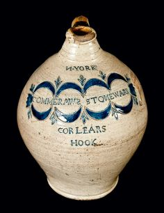 Exceptional N. YORK / COMMERAWS STONEWARE / CORLEARS / HOOK Thomas Commeraw Stoneware Jug