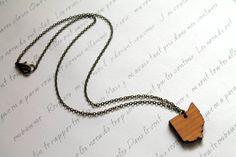 Wooden Ohio Necklace by BezelAndZin on Etsy, $19.00