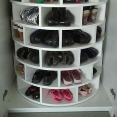 Lazy Susan for shoes! I NEED THIS!