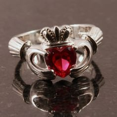 ruby claddagh engagement ring diamond alternative