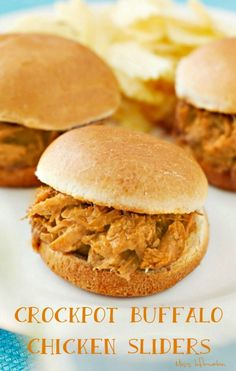 Crockpot buffalo chicken is juicy tangy and made with only 3 ingredients it's so easy. Make buffalo chicken sliders, wraps or your favorite dip with it Shredded Buffalo Chicken, Buffalo Chicken Sliders, Buffalo Chicken Recipes, Best Slow Cooker, Slow Cooker Recipes, Crockpot Recipes, Microwave Recipes, Fast Recipes, Quick Weeknight Meals