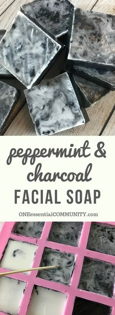 Easy DIY peppermint & charcoal detox soap recipe with peppermint essential oil. Helps increase circulation unclogs pores remove impurities fight acne and improve the health of your skin. {essential oils for skin acne faces tightening skincare You Diy Savon, Savon Soap, Soap Melt And Pour, Peppermint Soap, Peppermint Oil For Acne, Essential Oils For Skin, Diy Bath Salts With Essential Oils, Thieves Essential Oil, Homemade Soap Recipes