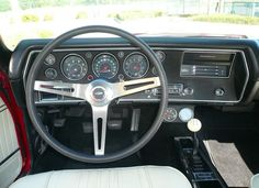 1970 Chevelle SS dash and instrument cluster with optional clock! gauges and three spoke steering wheel Chevy Chevelle Ss, Classic Chevrolet, Muscle Cars, Cool Cars, Dream Cars, Monte Carlo, Motorcycles, Erotica, Hot Rods