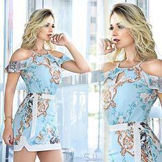 Vestido nova coleção Sublini Encantos de Verão. Vestido Casual, Chic, Cold Shoulder Dress, Girls Dresses, Beauty, Style, Fashion, New Dress, Red Gown Dress