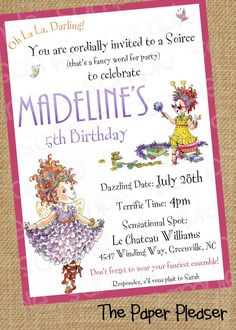 Fancy Nancy Customizable Birthday Invitation by ThePaperPleaser                                                                                                                                                     More